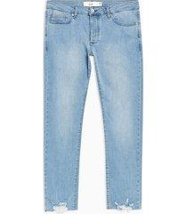 mens blue misty raw hem slim jeans