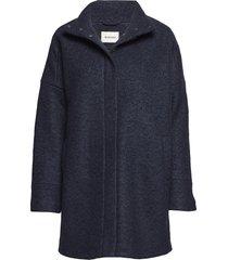 bonnie coat wollen jas lange jas blauw modström