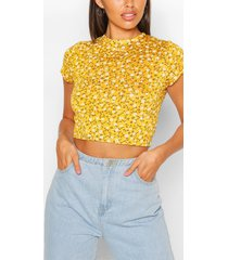 crew neck cap sleeve crop top, mustard
