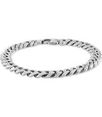 esquire men's jewelry men's rhodium-plated sterling silver bracelet