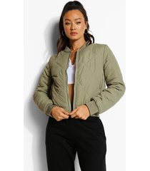 diamond quilt bomber jacket, khaki