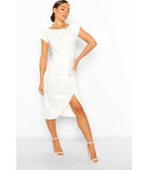 geplooide midi jurk met schouderpads, ivory