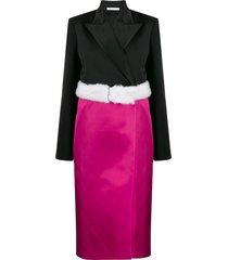 peter do fur-waist wrap skirt - black