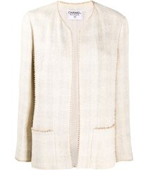 chanel pre-owned beaded-trim tweed jacket - neutrals