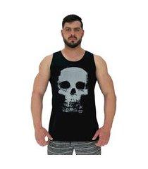 regata clássica masculina alto conceito caveira skull preto