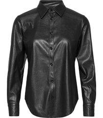 vegan leather - sandie new långärmad skjorta svart sand