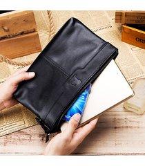 vera pelle telefono multifunzione vintage ad alta capacità borsa frizione borsa per uomo