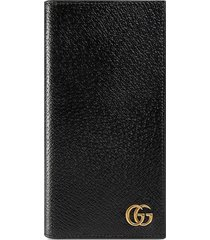 gucci gg marmont leather long id wallet - black