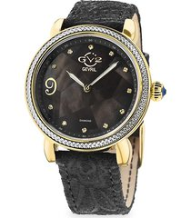 gv2 women's ravenna stainless steel, black mother-of-pearl, diamond & suede strap watch