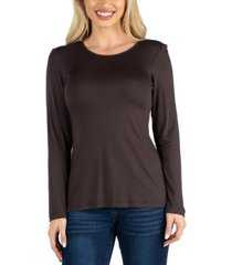 24seven comfort apparel women long sleeve solid color relaxed fit tee
