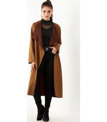 yoins brown suede lapel collar belt design trench coat