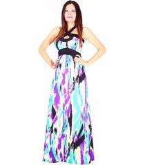 maxi-vestido estampado sarab/mv-007nl negro-lila