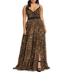 plus size women's mac duggal cheetah print chiffon prom dress