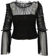 self portrait dot mesh angel sleeved top