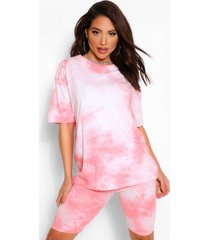 tiedye oversized top&cycling short co-ord, coral