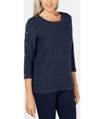 karen scott 3/4-sleeve sweater, created for macy's