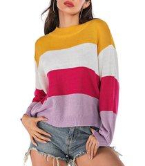 drop shoulder color block loose sweater