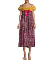 redvalentino women's floral & mink fur cold-shoulder empire dress - magenta - size 40 (8)