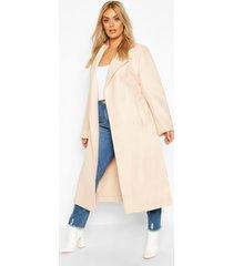 plus oversized self belted long coat, cream