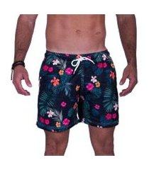 short tactel florido hibiscus praiar estampado masculino