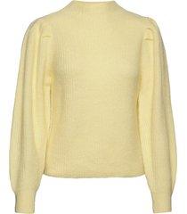 slflipa ls knit t-neck b stickad tröja gul selected femme