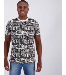 camiseta ecko modern print estampada off white.
