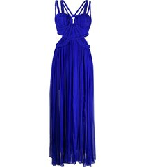 thurley braided detail flared dress - blue