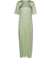 silk stretch satin maxi dress galajurk groen ganni