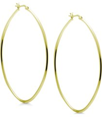 """essentials oval 3"""" extra large hoop earrings in fine silver-plate"""