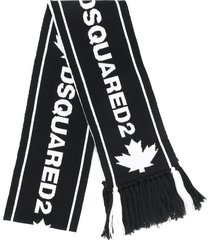 dsquared2 black jacquard scarf with white logo