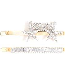 glass crystal hair clip set