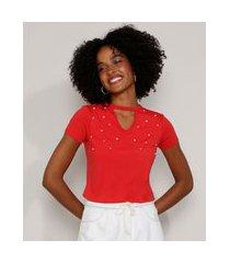 camiseta feminina básica choker com pérolas manga curta vermelha