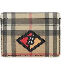 burberry logo graphic vintage check e-canvas card case - neutrals