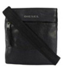 diesel bolsa tiracolo de couro - preto