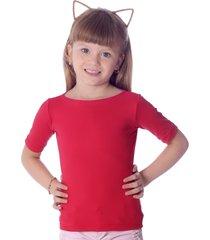 blusa infantil ficalinda com protetor solar vermelha meia manga decote canoa - vermelho - menina - elastano - dafiti