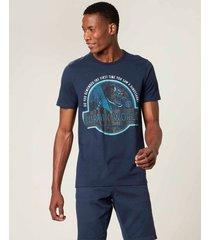camiseta jurassic park® masculina malwee azul marinho - pp