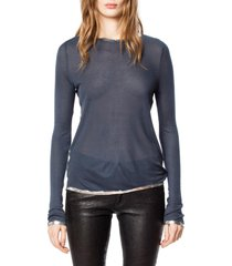 women's zadig & voltaire willy foil tee, size medium - blue