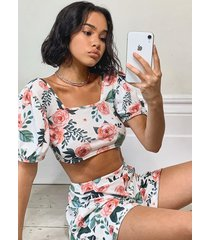 floral puff sleeve top & skater skirt co-ord set, white