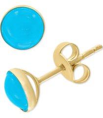 effy turquoise (6-1/2mm) stud earrings in 14k gold