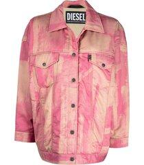 diesel tie dye oversized trucker jacket - pink