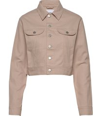 cropped twill jacket jeansjack denimjack beige calvin klein jeans