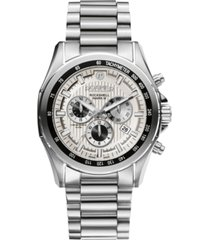 roamer men's chronograph 44 mm dress watch in stainless steel case and bracelet