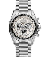 roamer men's chronograph 44 mm dress watch in stainless steel case and bracelet