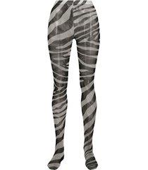 dolce & gabbana meia-calça com estampa de zebra - preto