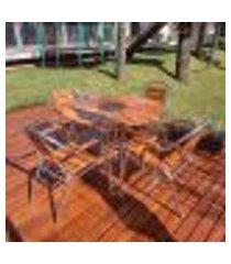 conjunto para área externa com cooler sherb willow madeira e alumínio