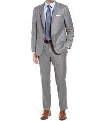 men's hickey freeman classic fit windowpane wool suit
