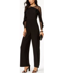 r & m richards petite illusion ruffle jumpsuit
