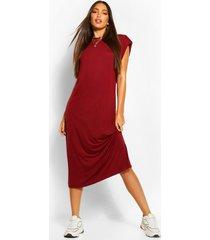 tall shoulder pad midi dress, berry
