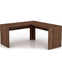 mesa de escritório angular me4116 nogal videira