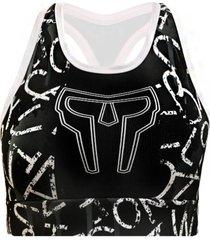 top de compressã£o spartanus fightwear chalk letters preto - preto - feminino - dafiti